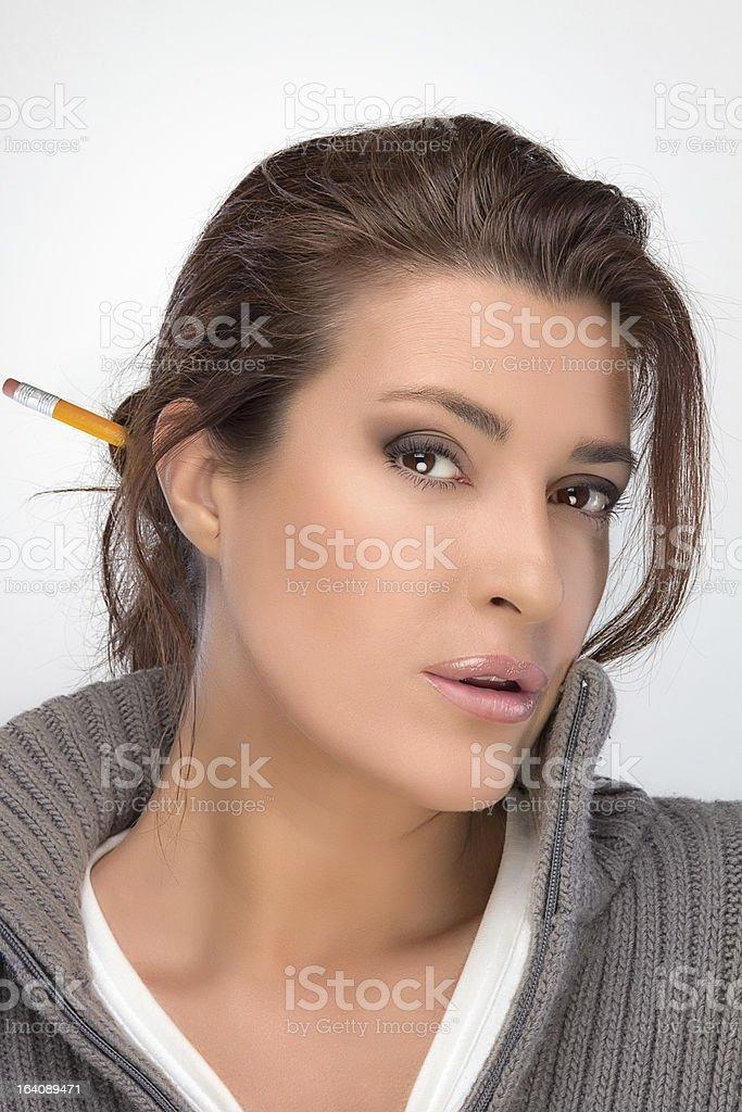 Brunette Beauty Thinking. Seeking Solutions stock photo