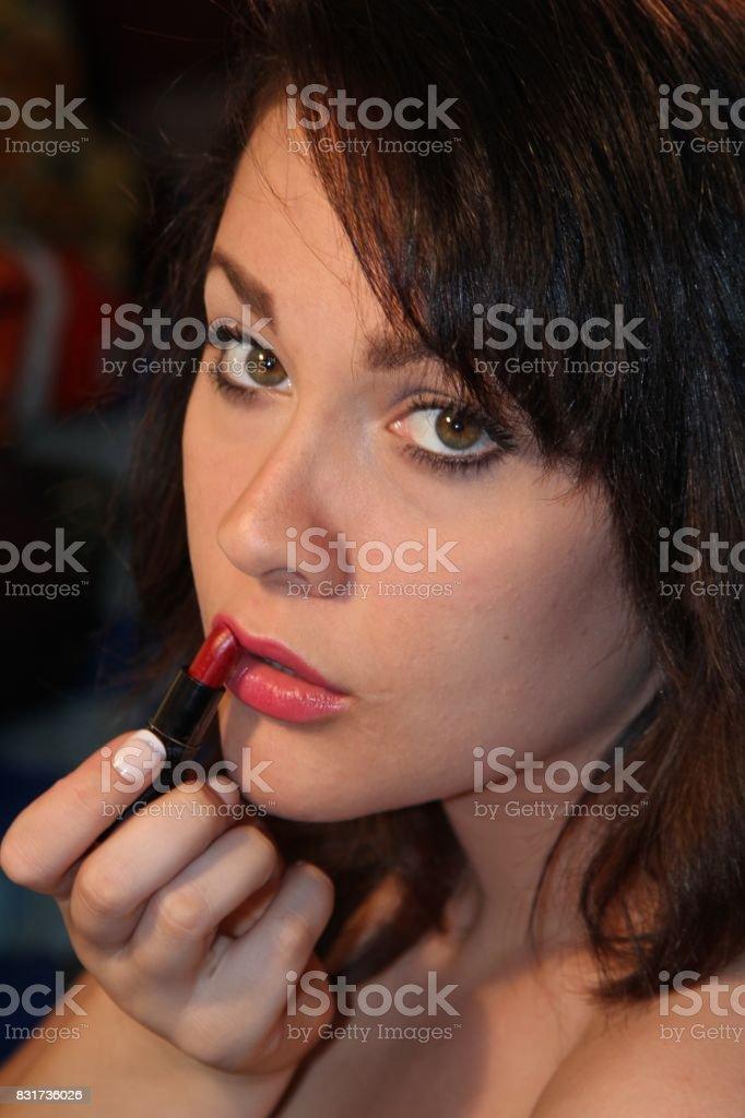 Brunette Beauty-Lipstick stock photo