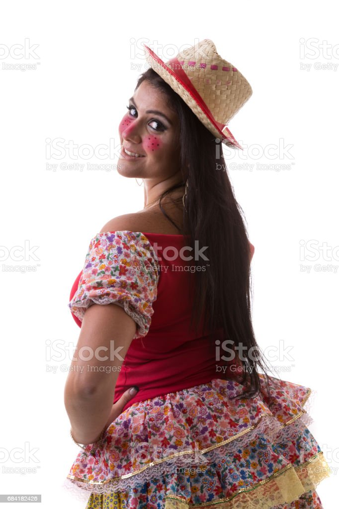 Brunette Brazilian girl wearing traditional costume for Junina Party royalty-free stock photo