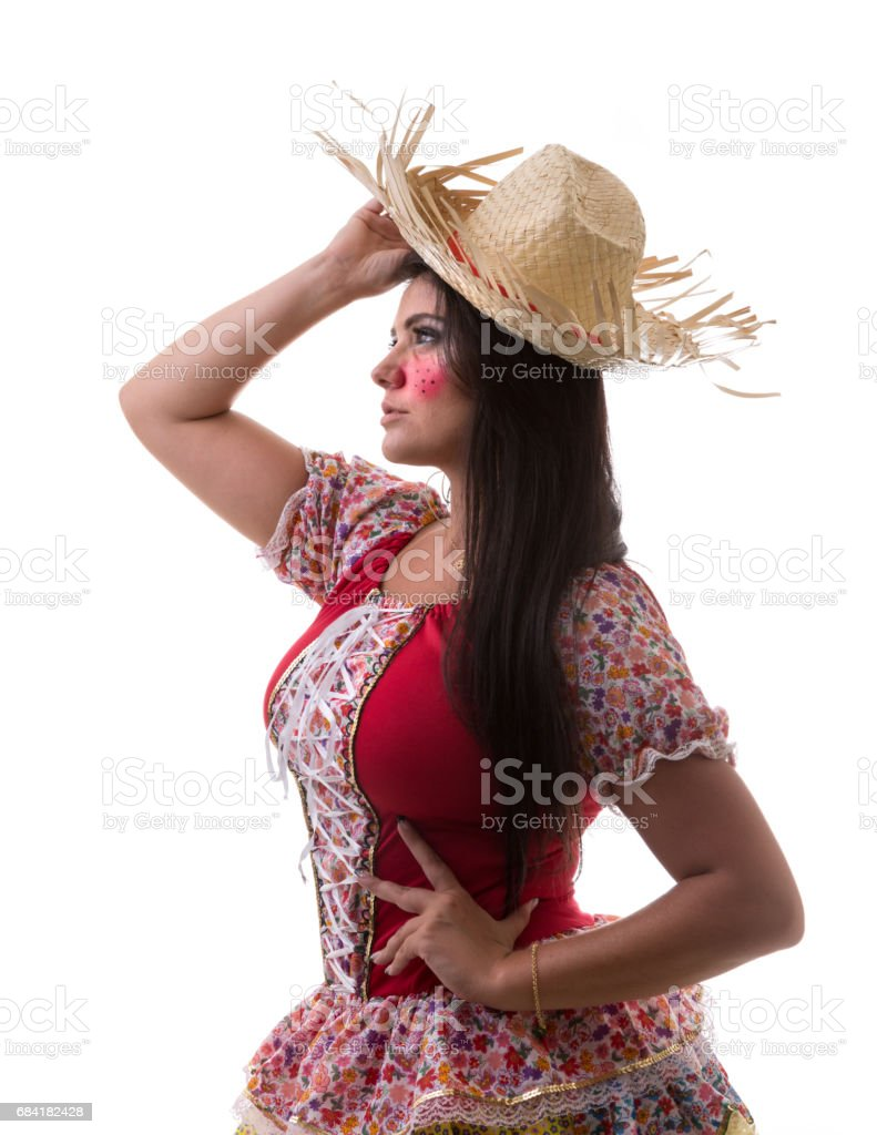 Brunette Brazilian girl wearing traditional costume for Junina Party foto stock royalty-free