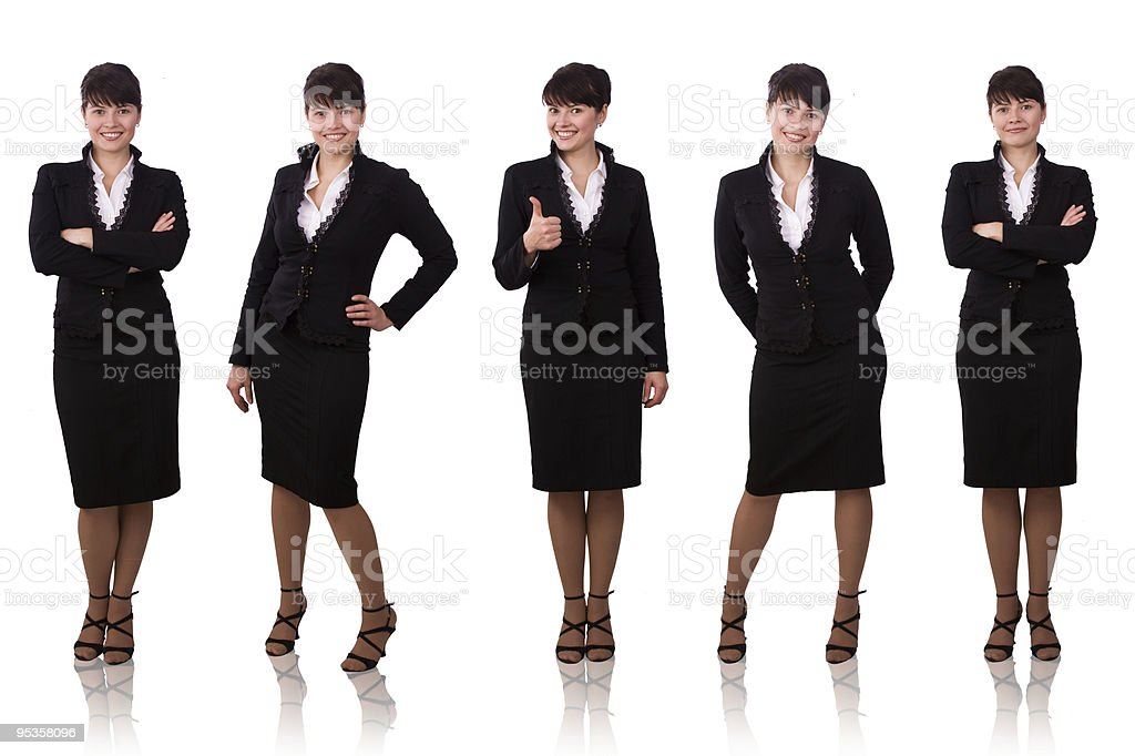 Brunette businesswoman dressed in black suit. royalty-free stock photo