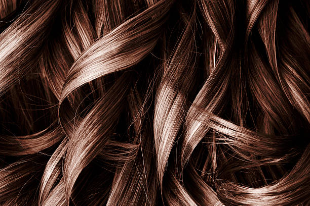 brunette curly hair background - curly brown hair stockfoto's en -beelden