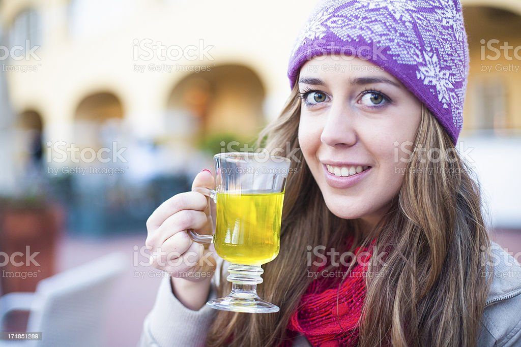 Brunette drinking tea royalty-free stock photo