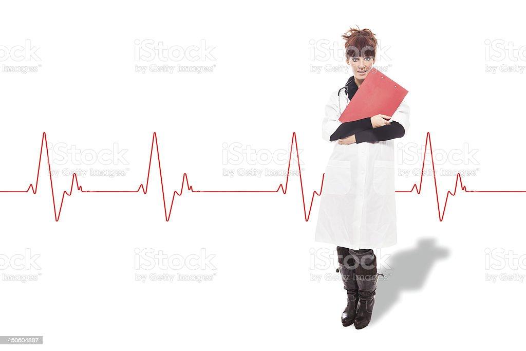 Brunette Female Doctor - Isolated stock photo