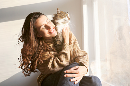 1149249445 istock photo Brunette female in knitted sweater with her fluffy cat. 1261388192