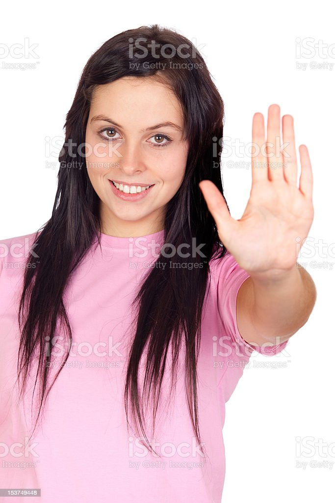 Brunette girl saying stop stock photo