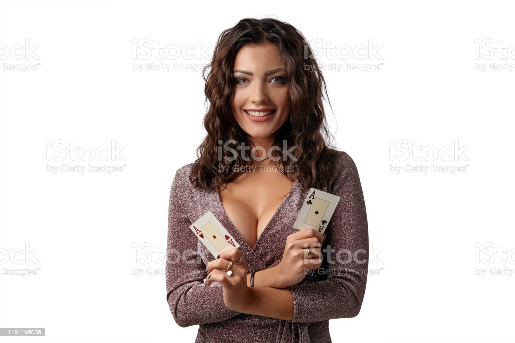 Brunette Girl Wearing Shiny Brown Dress Posing With Two Playing Cards In Her Hands Standing Isolated On White Background Casino Poker Closeup Stock Photo Download Image Now Istock