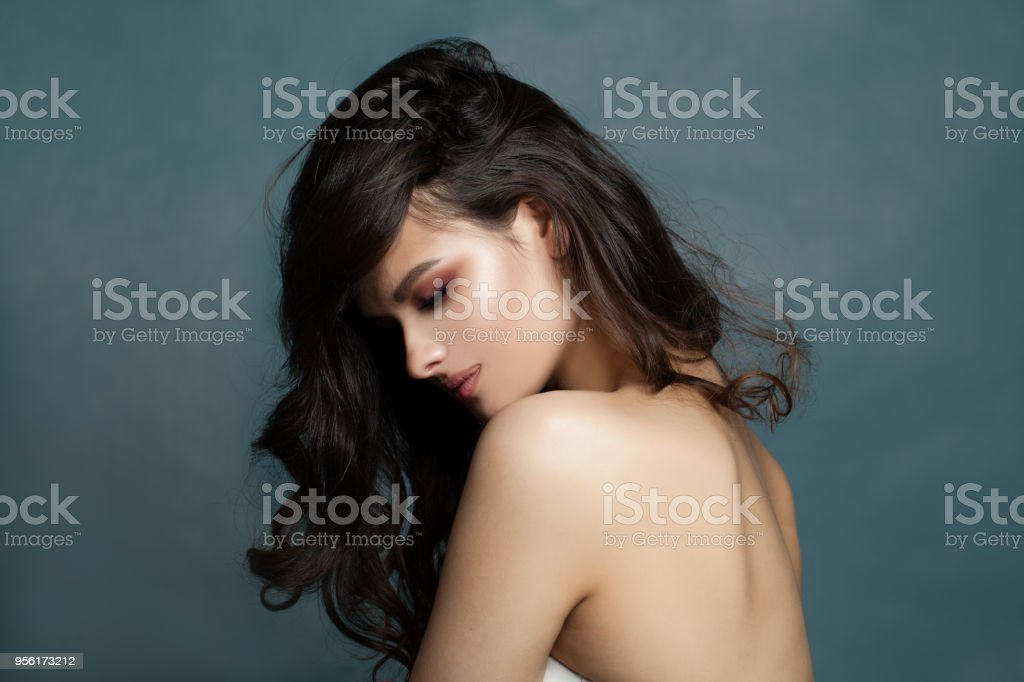 Brunette Hair Model Portrait Beautiful Woman With Dark Curly Hairstyle On Banner Background With Copy Space Stock Photo Download Image Now Istock