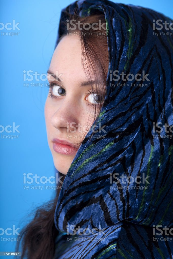 Brunette In A Hooded Cloak royalty-free stock photo