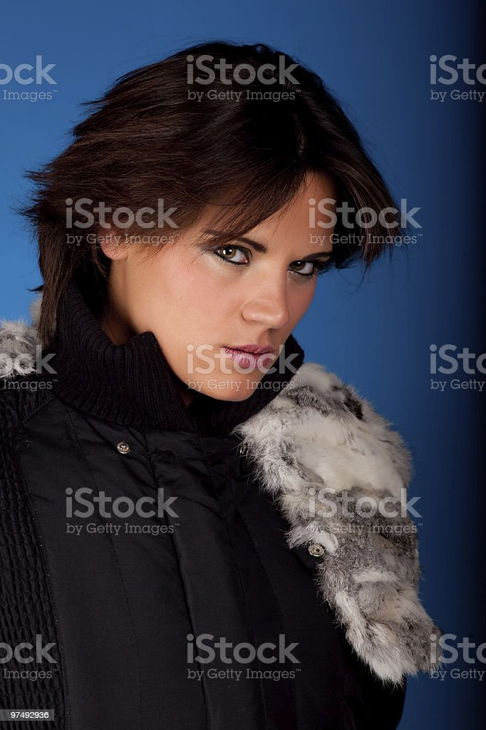 Brunette in blue royalty-free stock photo
