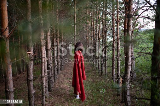 Side view of girl covered with red plaid looking away standing on alley among trees in woods