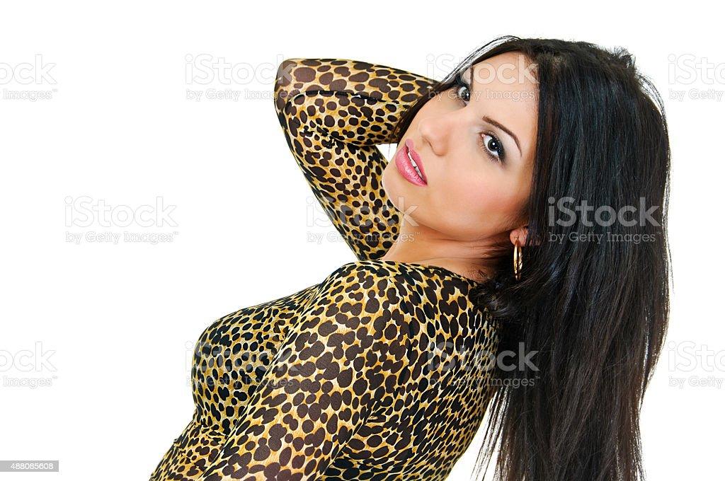 brunette in tiger tone stock photo