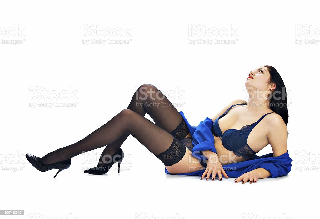 brunette in underclothes royalty-free stock photo