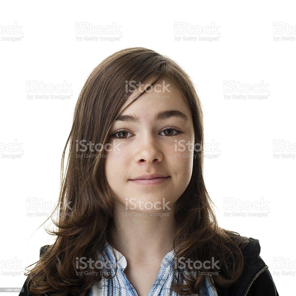 Brunette little girl on white background stock photo