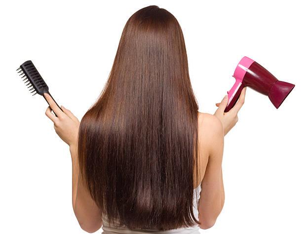brunette - haarfön stock-fotos und bilder