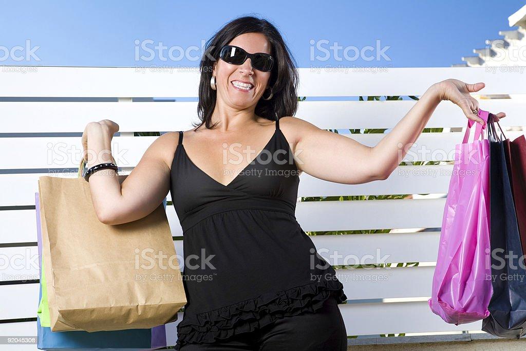 Brunette shopping royalty-free stock photo