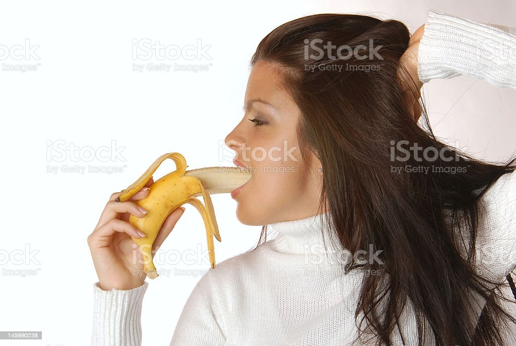 Brunette with  banana royalty-free stock photo