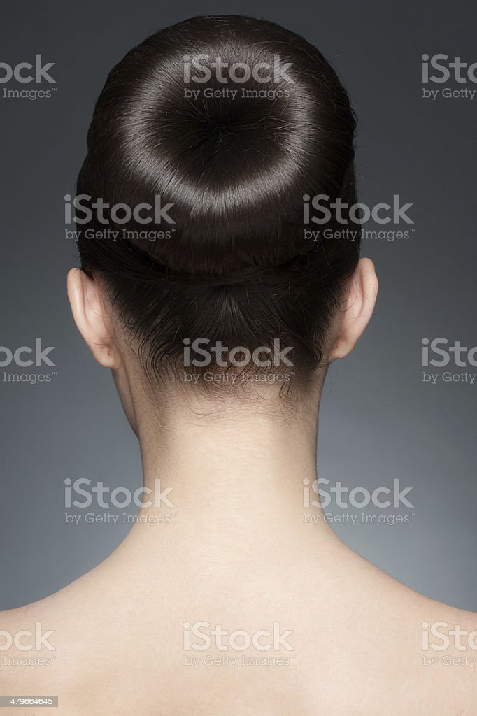 Brunette with elegant hairstyle stock photo