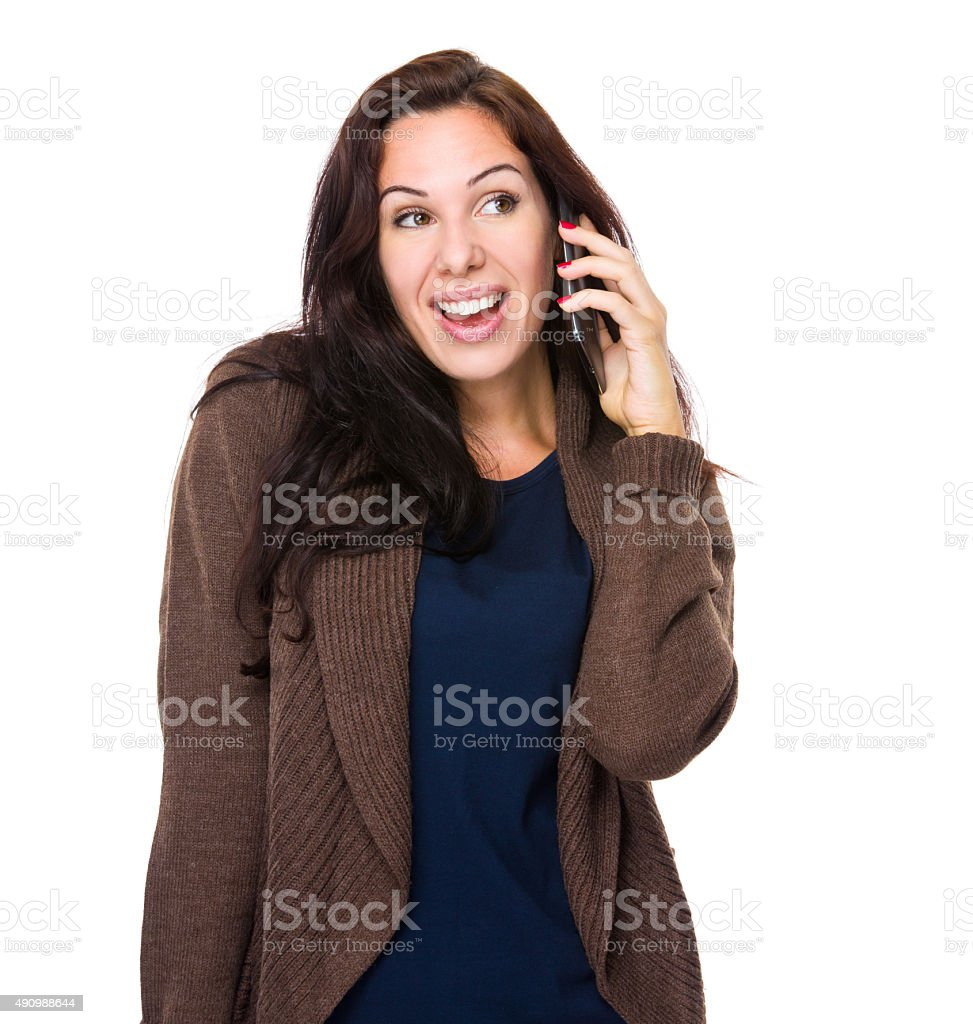 Brunette Woman chat on cellphone stock photo