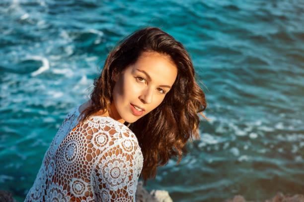 brunette woman on vacation on majorca stock photo