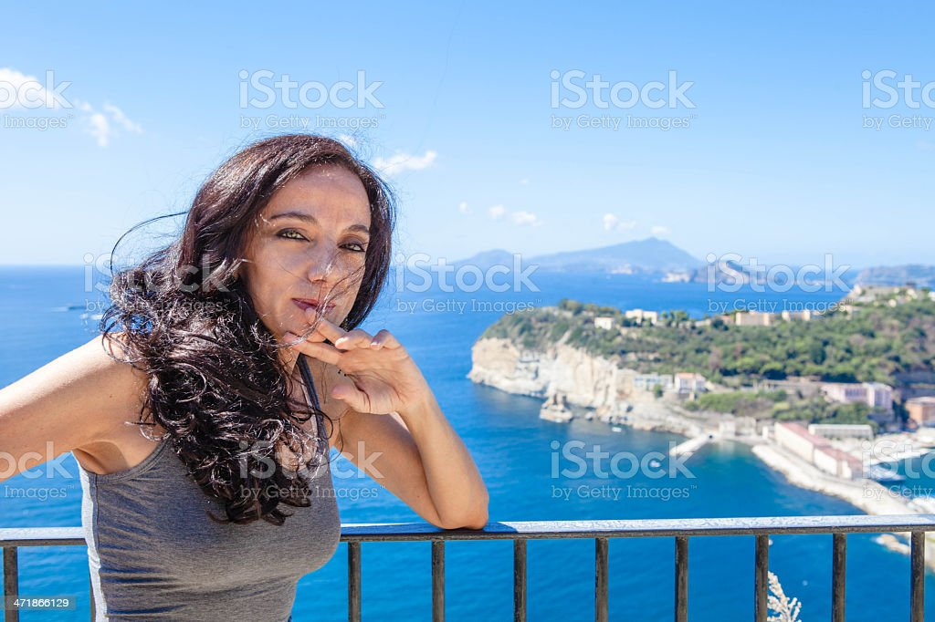 Brunette Woman Portrait on Bay of Naples View stock photo