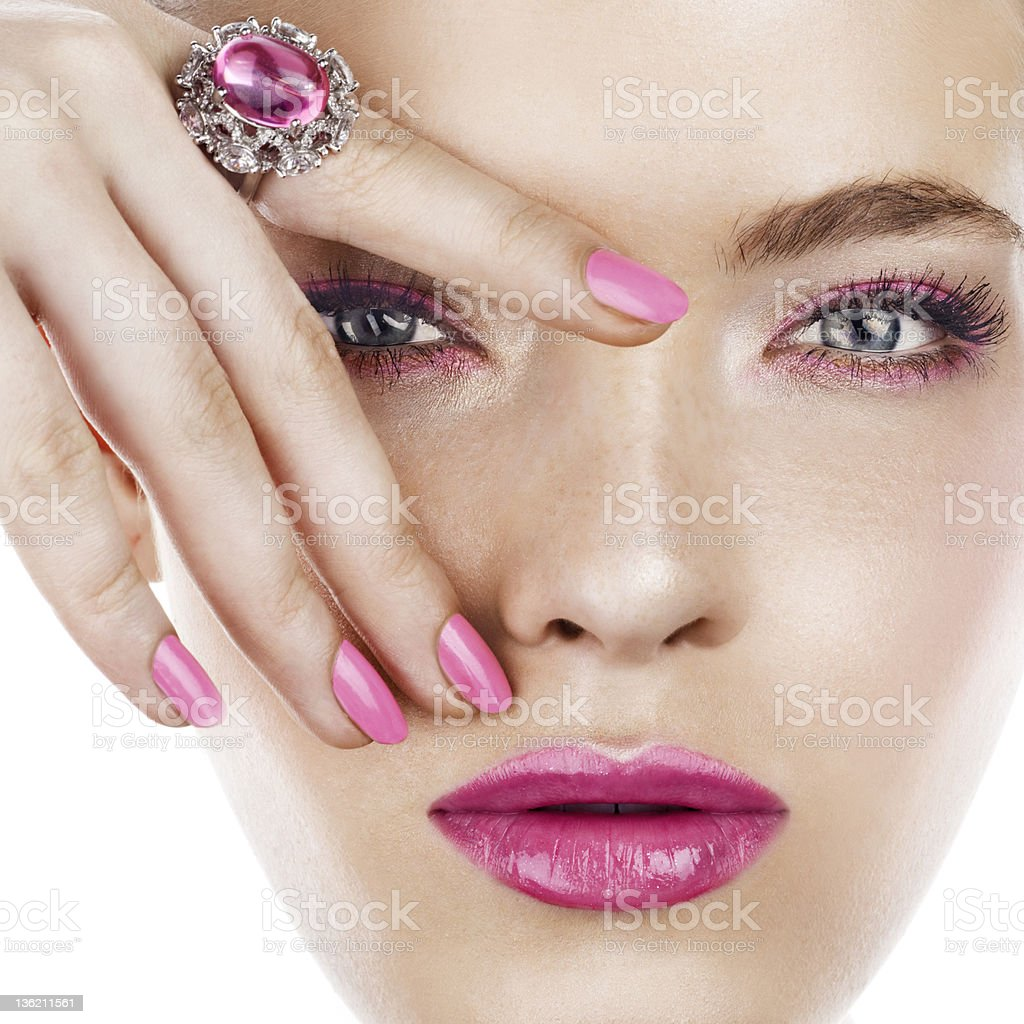 Brunette woman posing with ring on finger royalty-free stock photo