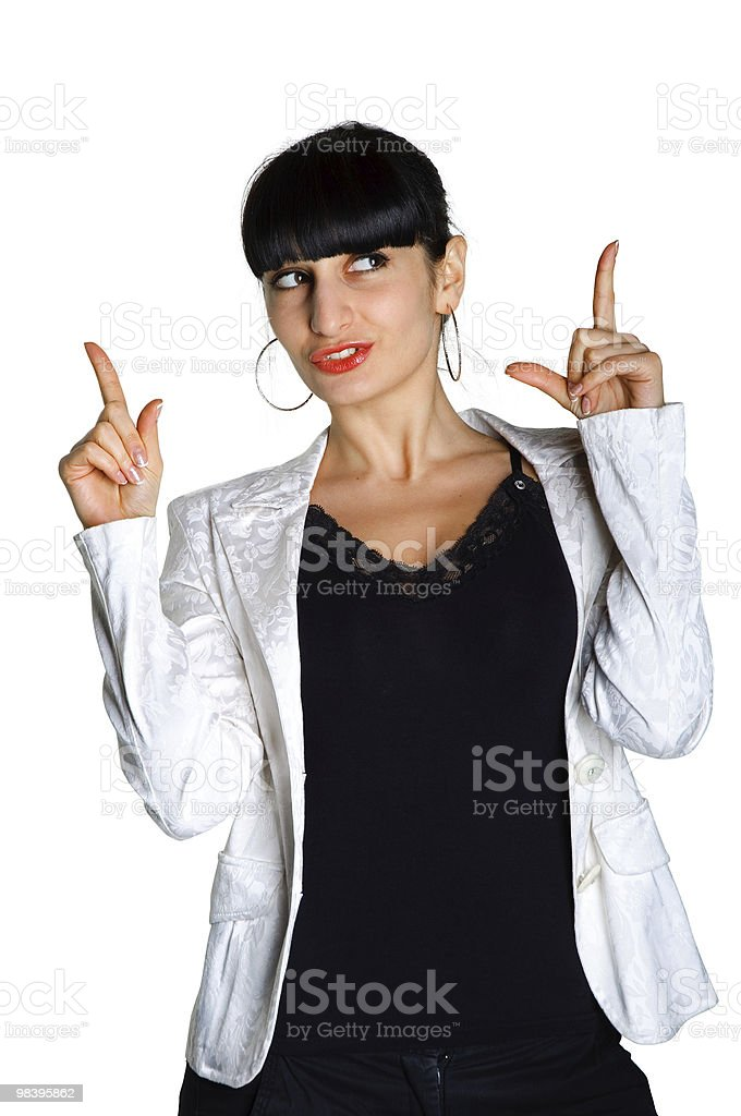 brunette woman sign up ona white background royalty-free stock photo