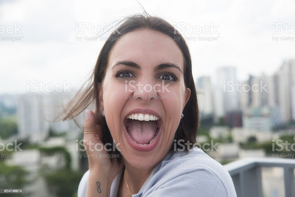 Brunette Woman with happy expression – Foto