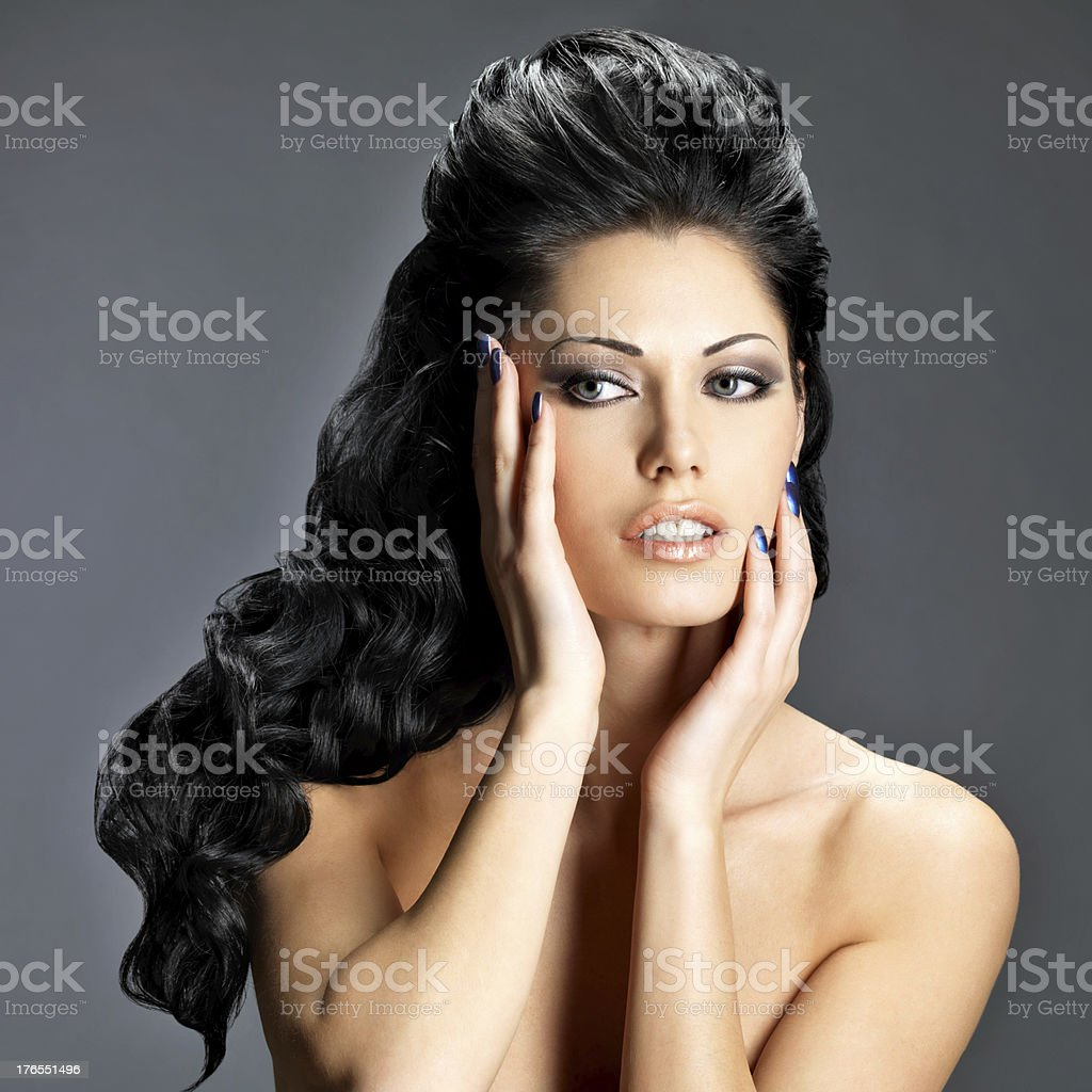 Brunette woman with long hairstyle royalty-free stock photo