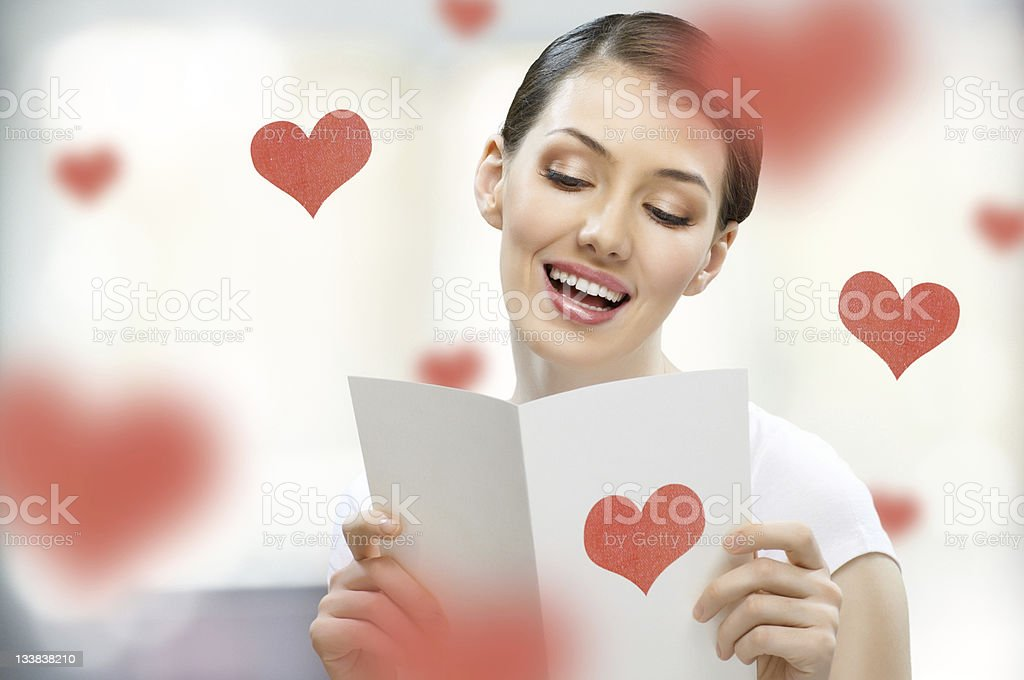 Brunette woman with love letter royalty-free stock photo