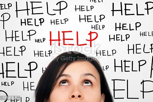 istock Brunette Women's face with help written all around her 171355781