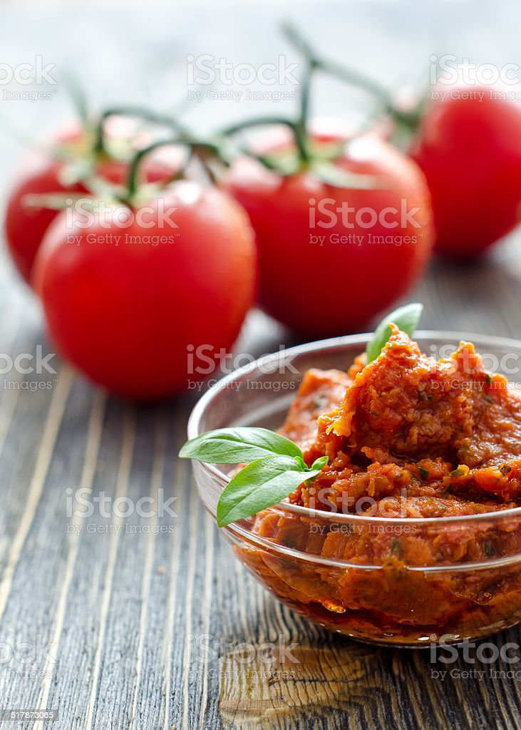 Bruscetta in a bowl with basil and tomatoes stock photo