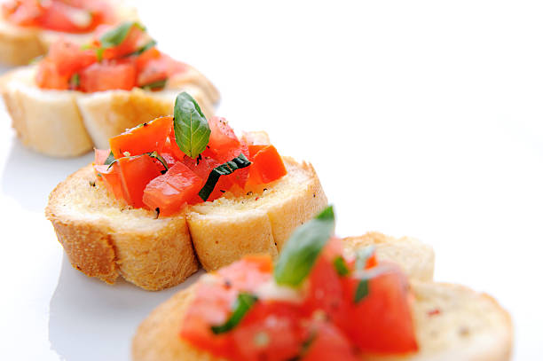 bruschetta appetiser - appetiser stock photos and pictures