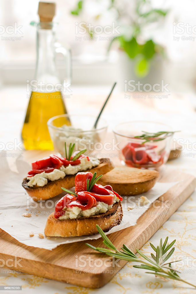 Bruschetta appetizer with bell pepper and oil royalty-free stock photo