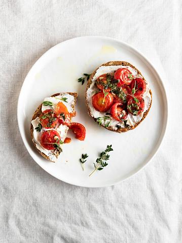 Aperitif, Sandwich, White Background, Cream Cheese, Crostini, Sliced Bread, Bruschetta, food, Food and Drink, Toasted Bread,
