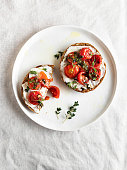 Aperitif, Sandwich, White Background, Cream Cheese, Crostini, Sliced Bread, Bruschetta, food, Food and Drink, Toasted Bread,