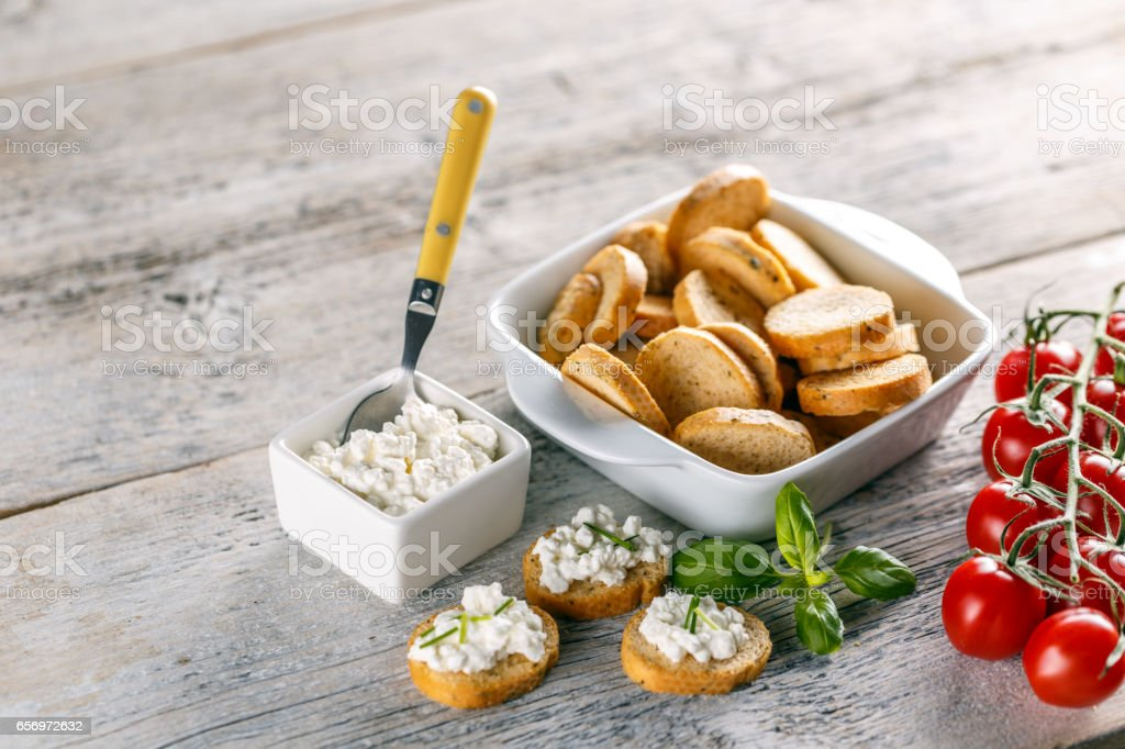 Bruschetta sandwich with cottage cheese stock photo