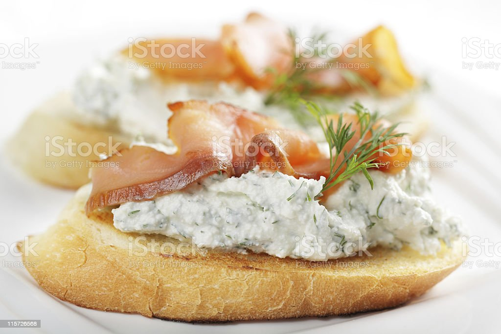 Bruschetta with cheese and salmon royalty-free stock photo