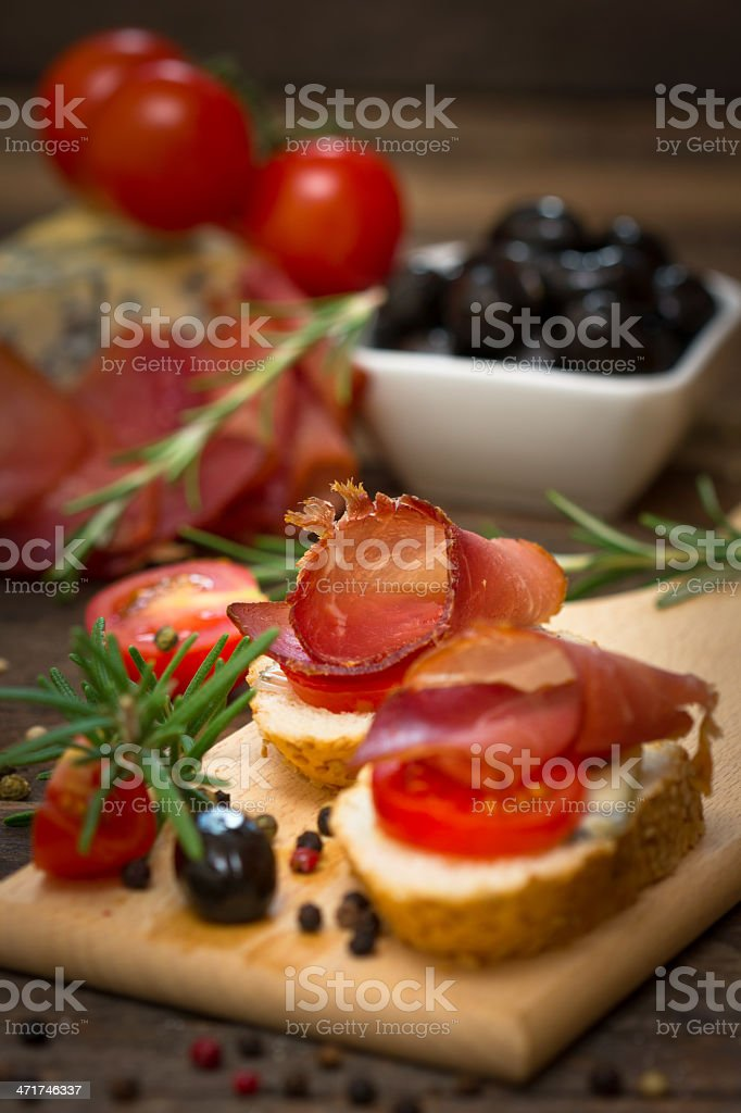 Bruschetta with ham royalty-free stock photo