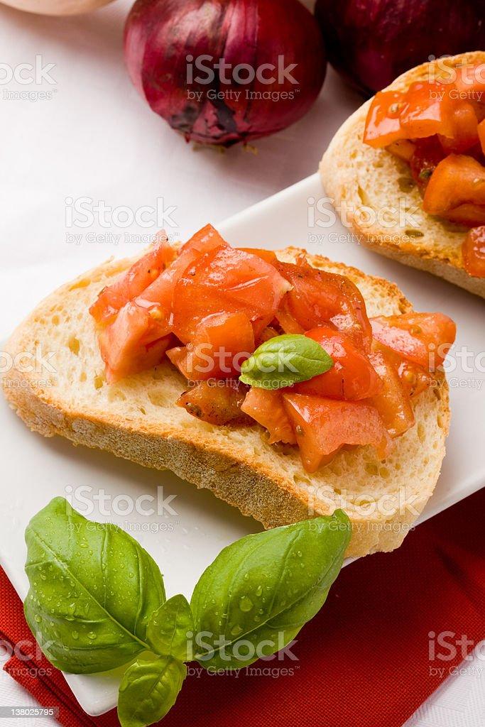 Bruschetta with ingredients stock photo