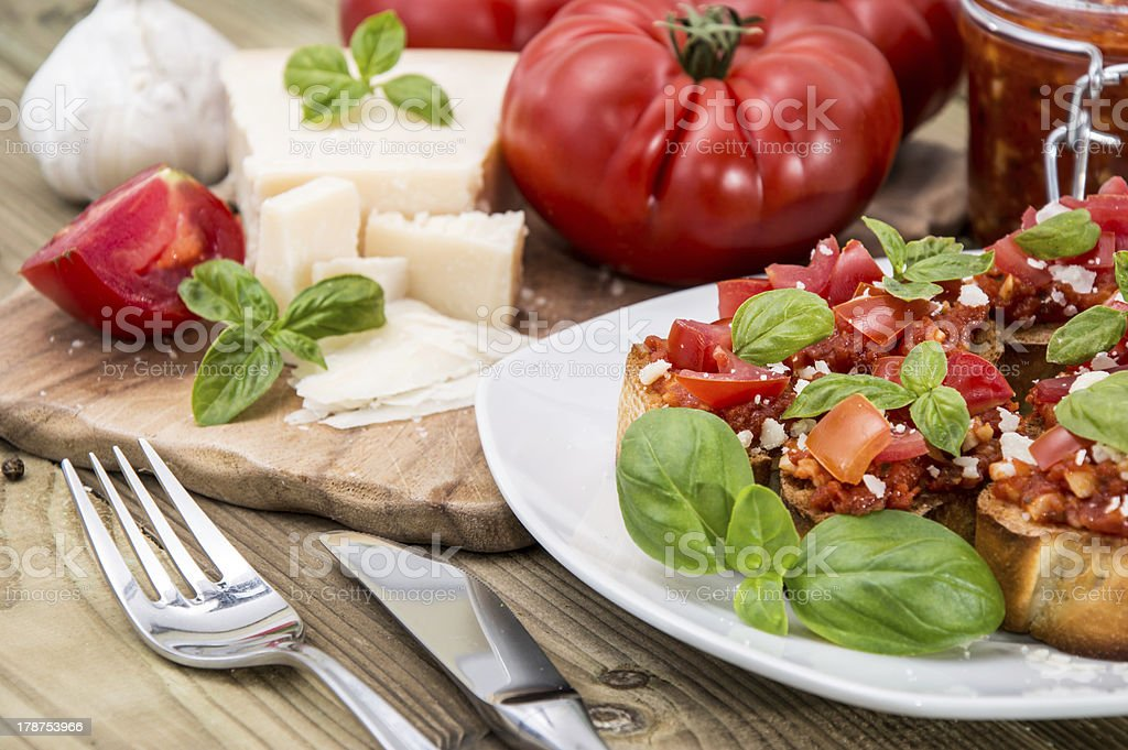 Bruschetta with ingredients royalty-free stock photo