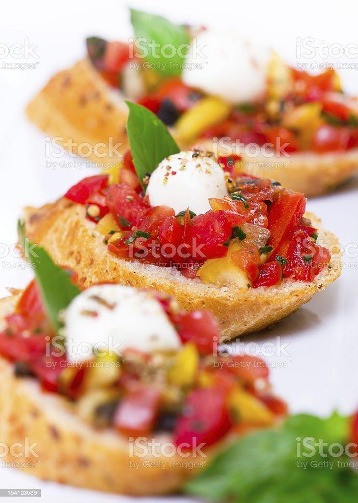 Bruschetta with mozzarella royalty-free stock photo