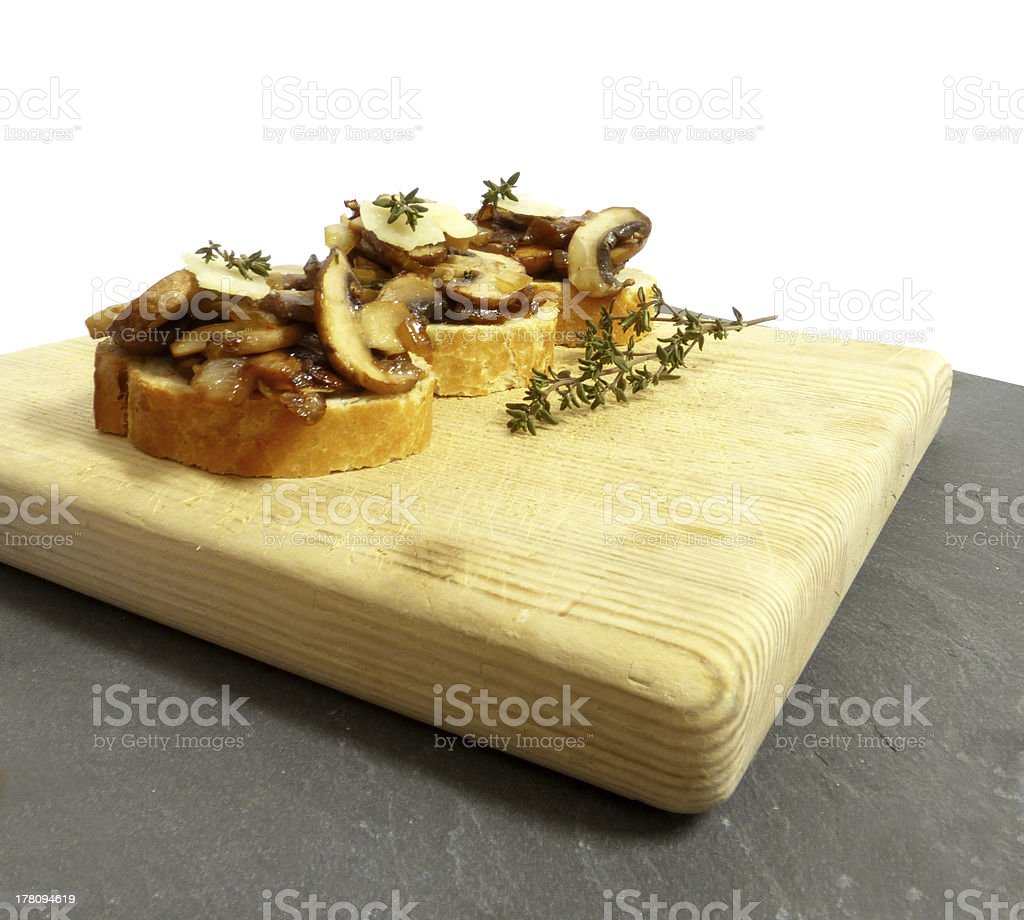 Bruschetta with mushrooms, and Parmesan royalty-free stock photo
