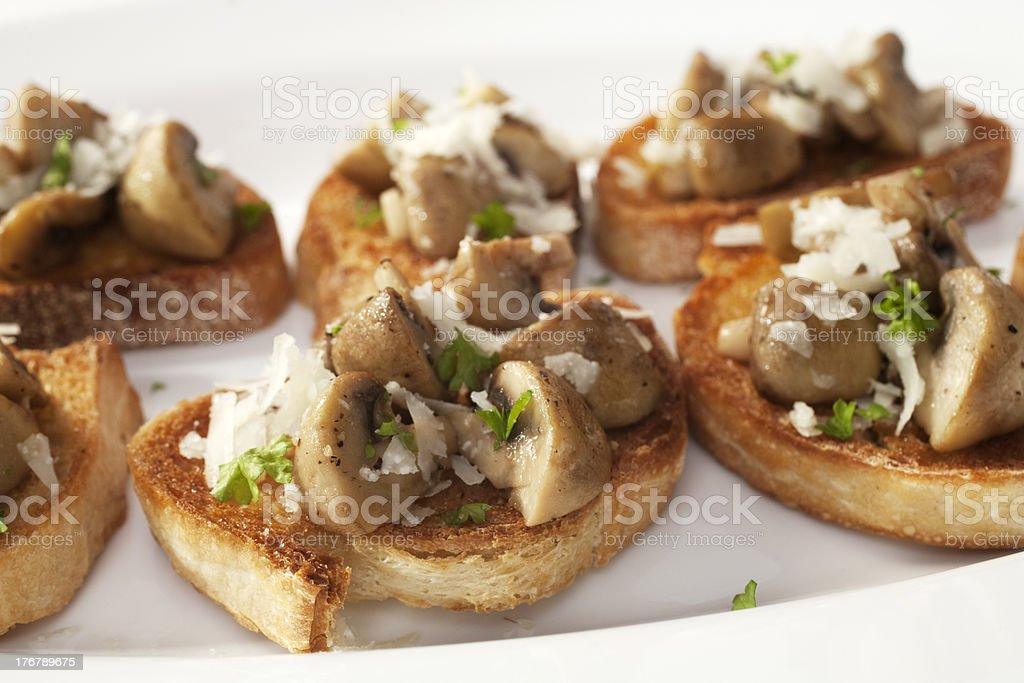 Bruschetta with Mushrooms and Pecorino royalty-free stock photo