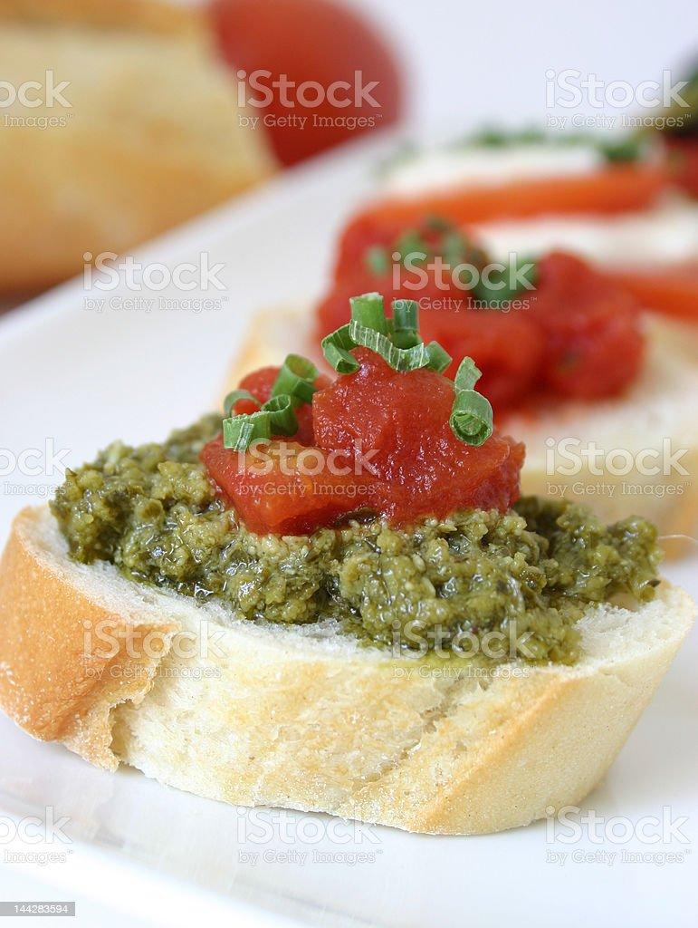 bruschetta with pesto royalty-free stock photo