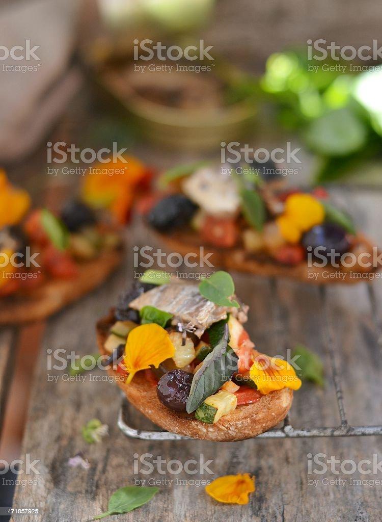 bruschetta with ratatouille royalty-free stock photo