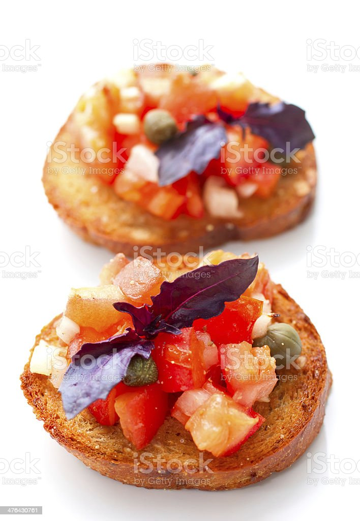 Bruschetta with tomatoes and onions stock photo