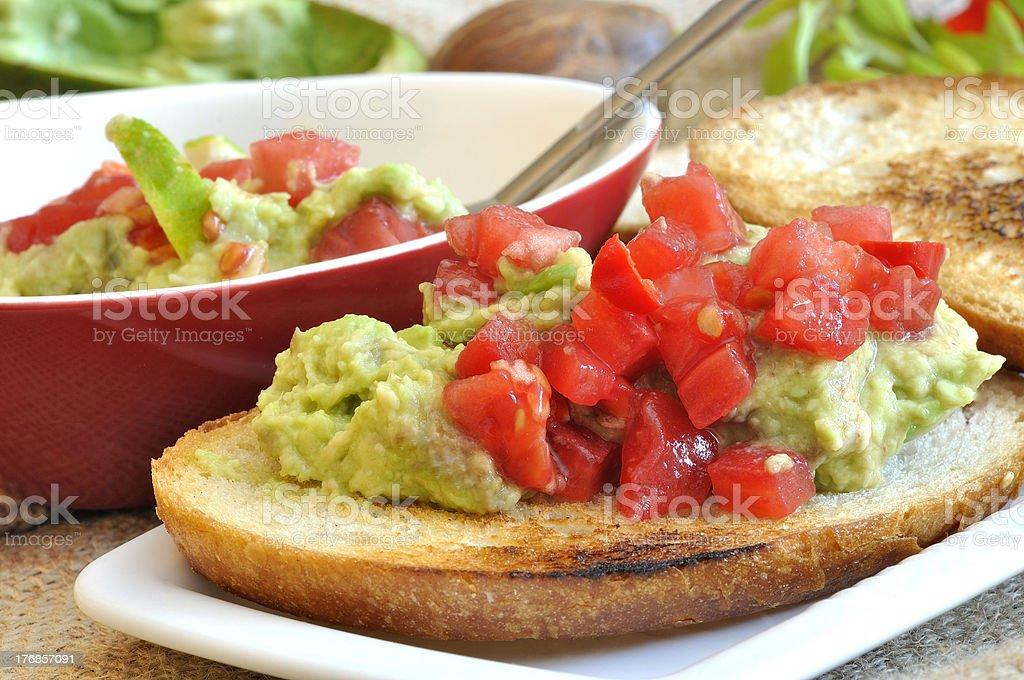 bruschetta z guacamole royalty-free stock photo
