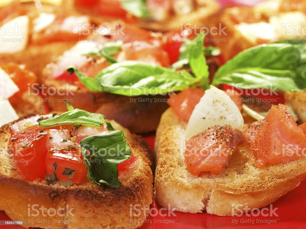 Bruschettas with salmon and onion royalty-free stock photo