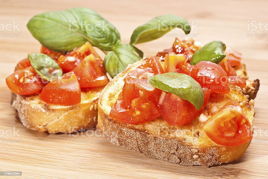 Bruschette, italian appetizer royalty-free stock photo